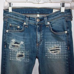 Rag & Bone Distressed Grayson Skinny Jeans Sz 26